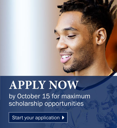 Apply and gain admission by October 15 for maximum scholarship opportunities