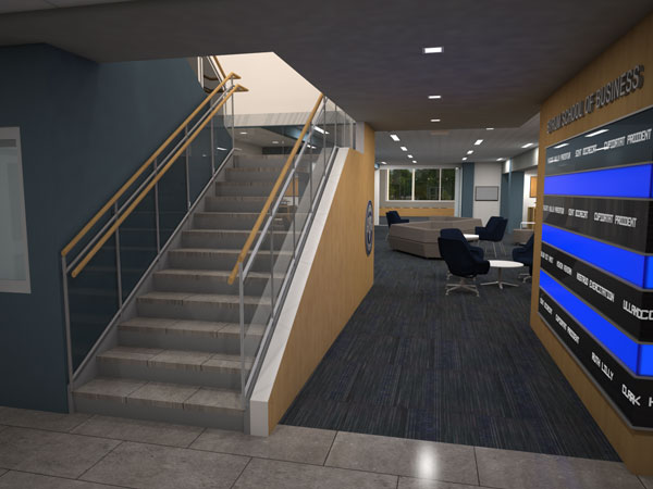 business school interactive wall render