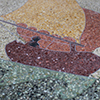 Design in mosaic from the Heslar Naval Armory near Marian University.