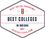 2017 best online colleges Indiana seal