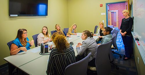 Group discussion with graduate counseling students
