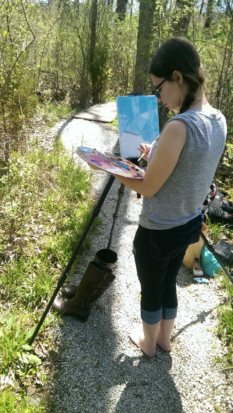 leah noe painting on trail