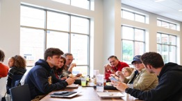 Students eating in Dining Commons