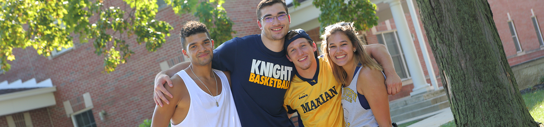 Marian University students outside Drew Hall
