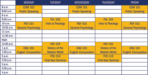 Sample schedule for a first-year student