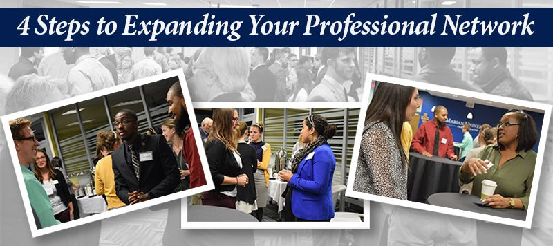 4 Steps to Expanding Your Network title with photos at networking event