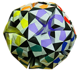 Multi-colored, angled paper ball