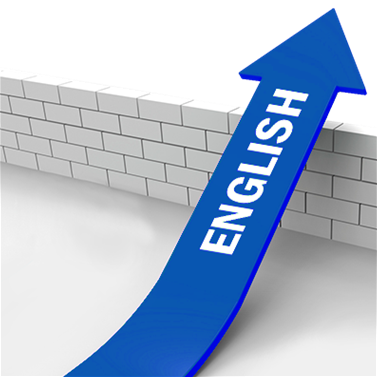 Blue arrow labeled English going over a wall