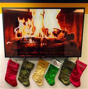 Fireplace video and stockings